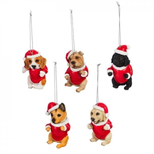 Seasonal Holiday Ornament - Dog In Santa Suit