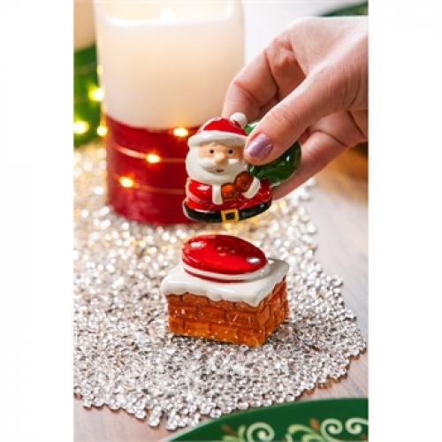 Seasonal Holiday Salt And Pepper Shaker - Santa And Chimney Magnetic Stackable