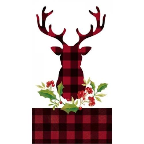 Holiday Paper Guest Towel 15 Count - Plaid Stag