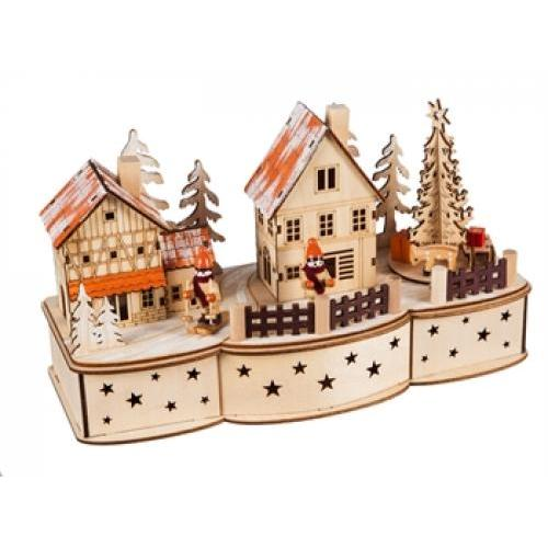 Wooden Christmas Led Village With Motion And Music