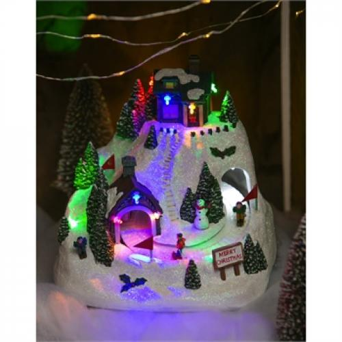 Christmas Village Led Mountain Scene With Motion And Music