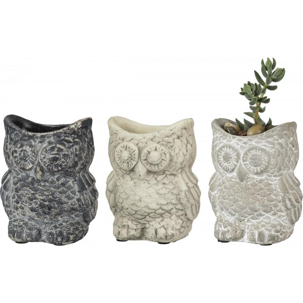 Planter Cement Owl Set Of 3 Sm-7.99 Md-8.99 Lg-9.99