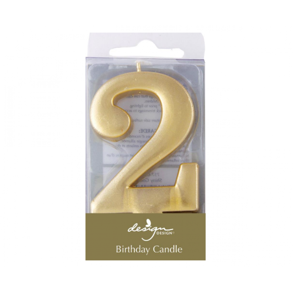 Birthday Candles - Number - Gold - Two