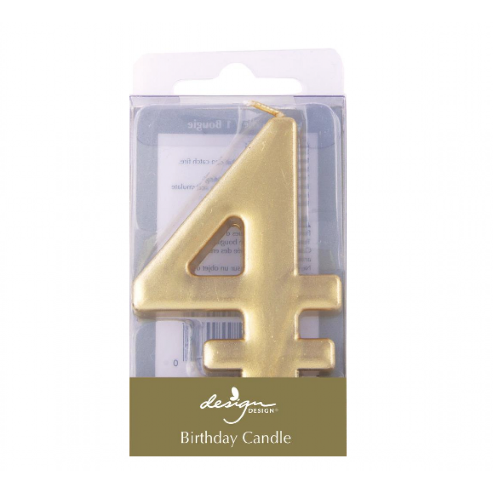 Birthday Candles - Number - Gold - Four