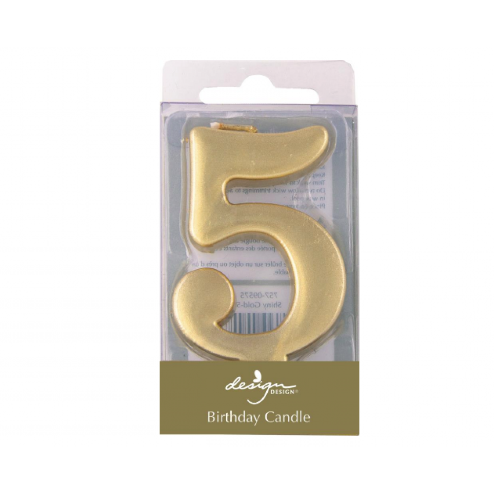 Birthday Candles - Number - Gold - Five