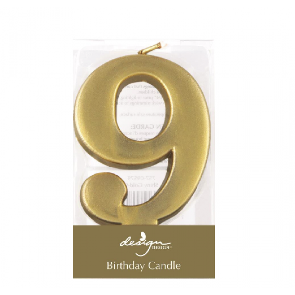 Birthday Candles - Number - Gold - Nine
