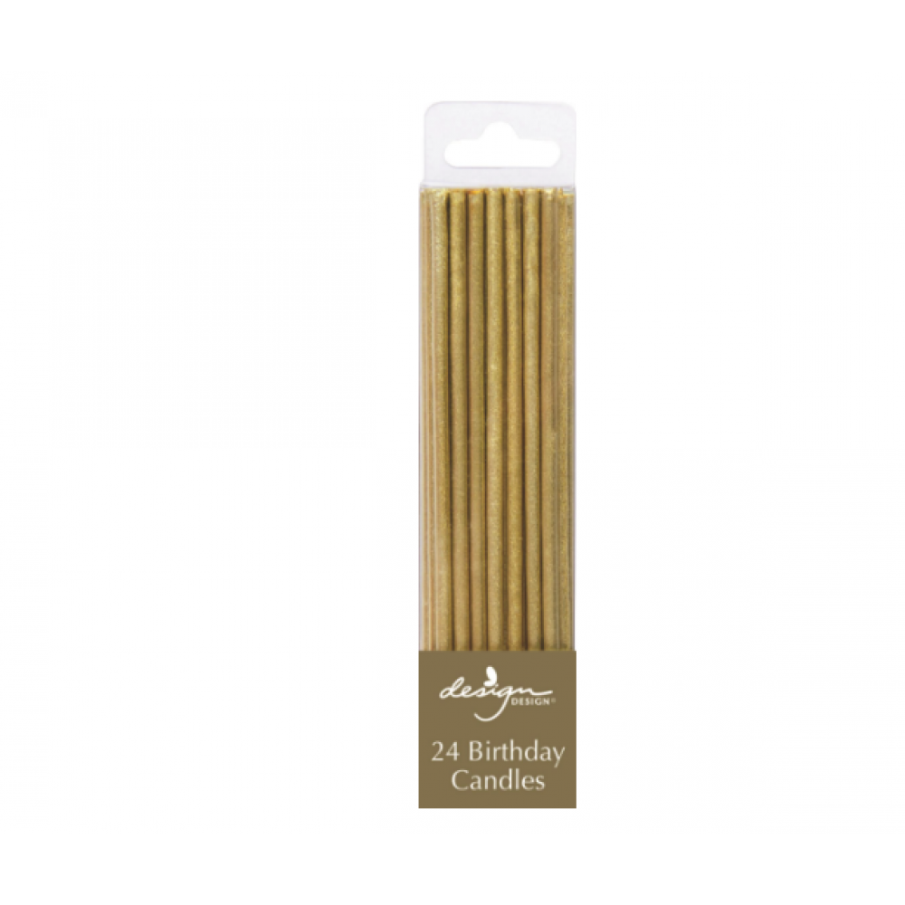 Birthday Candles - Tall Thin Stick Gold