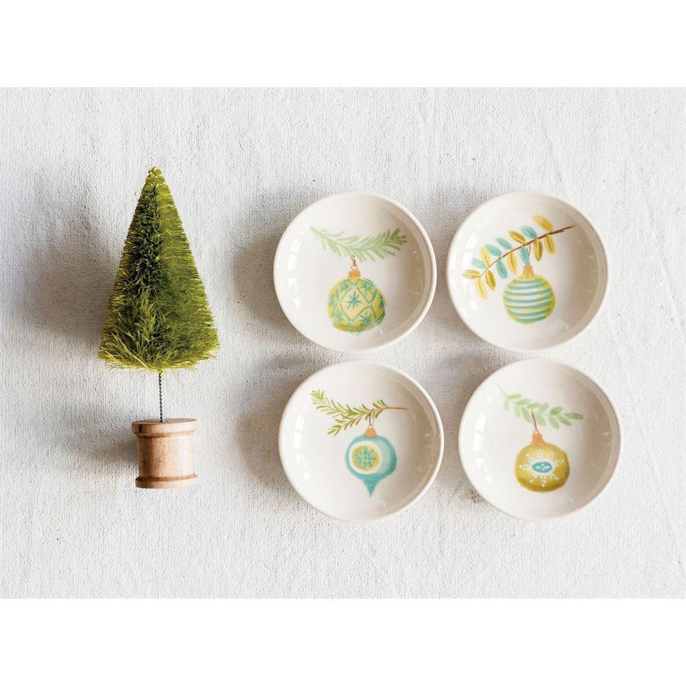 Seasonal Stoneware Dish Round 3inch With Ornament