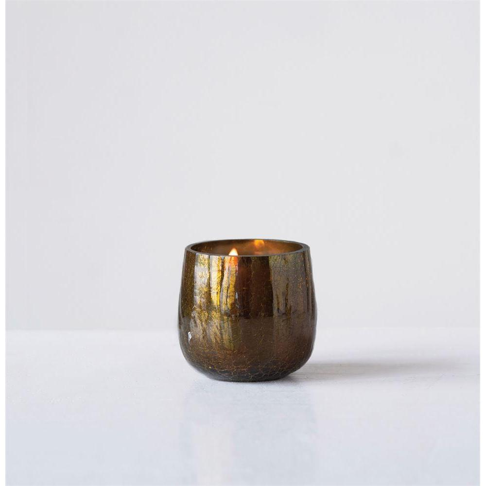Seasonal Tealight Holder Gold Crackle