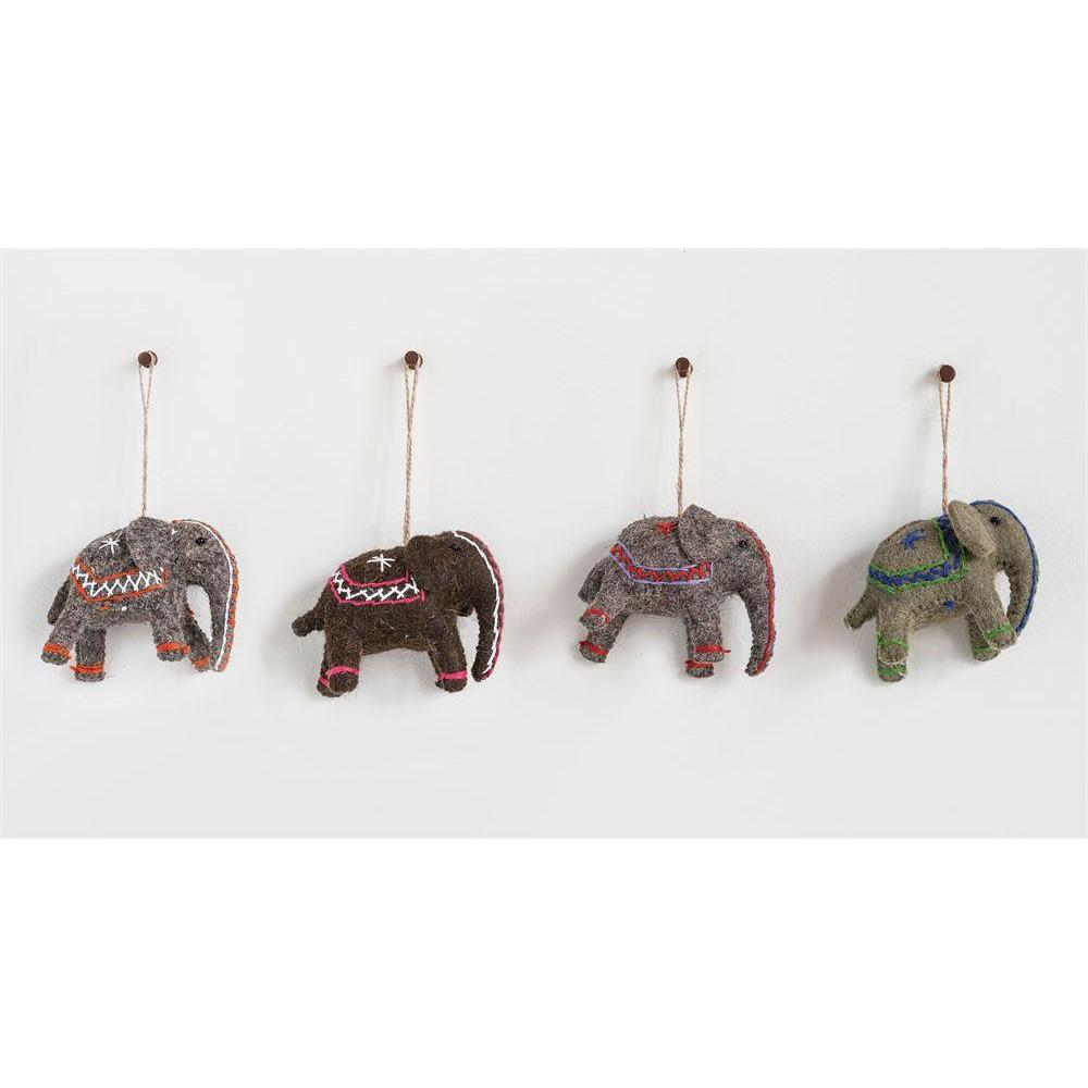 Seasonal  Ornament Wool Felt Elephant
