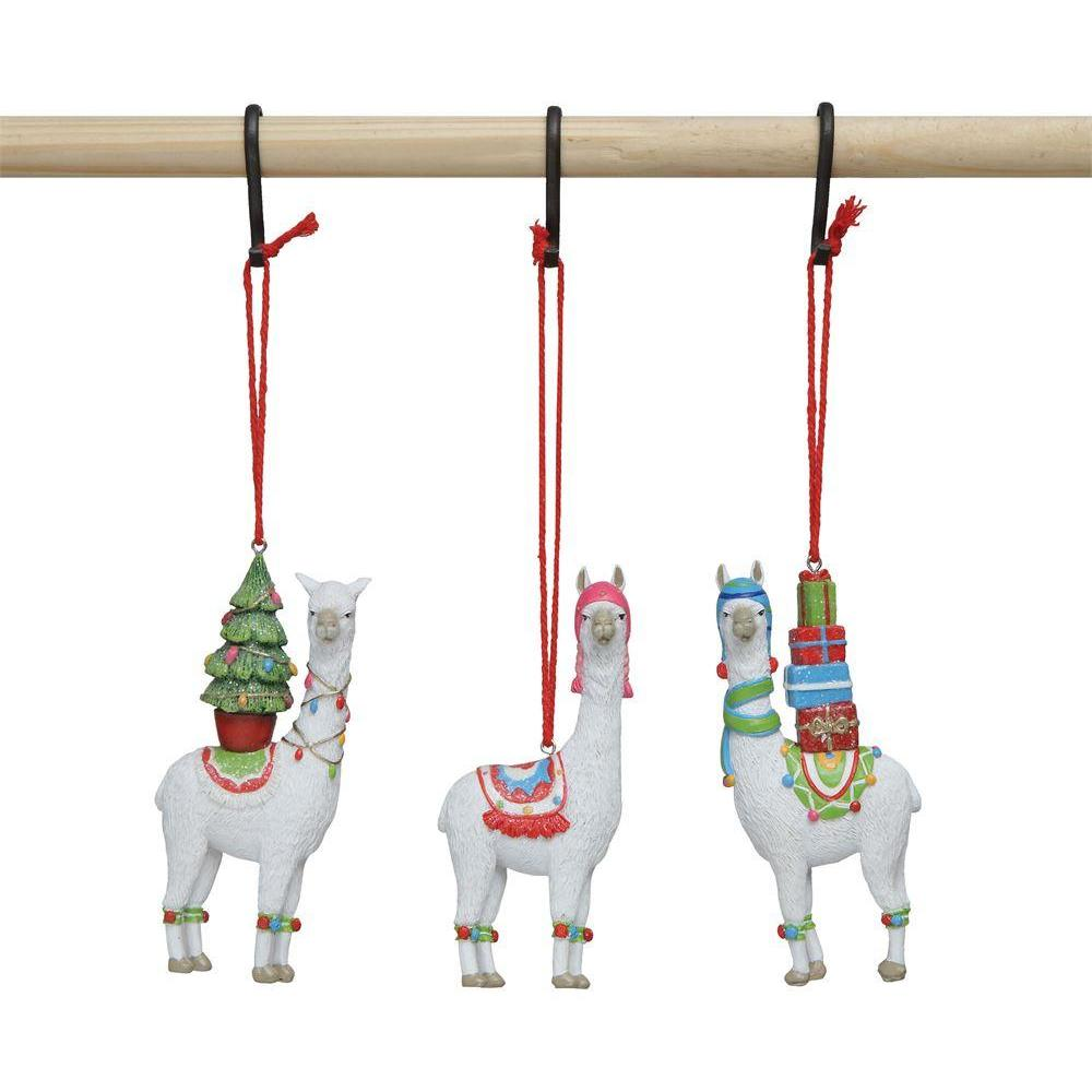 Seasonal Ornament Resin Llama