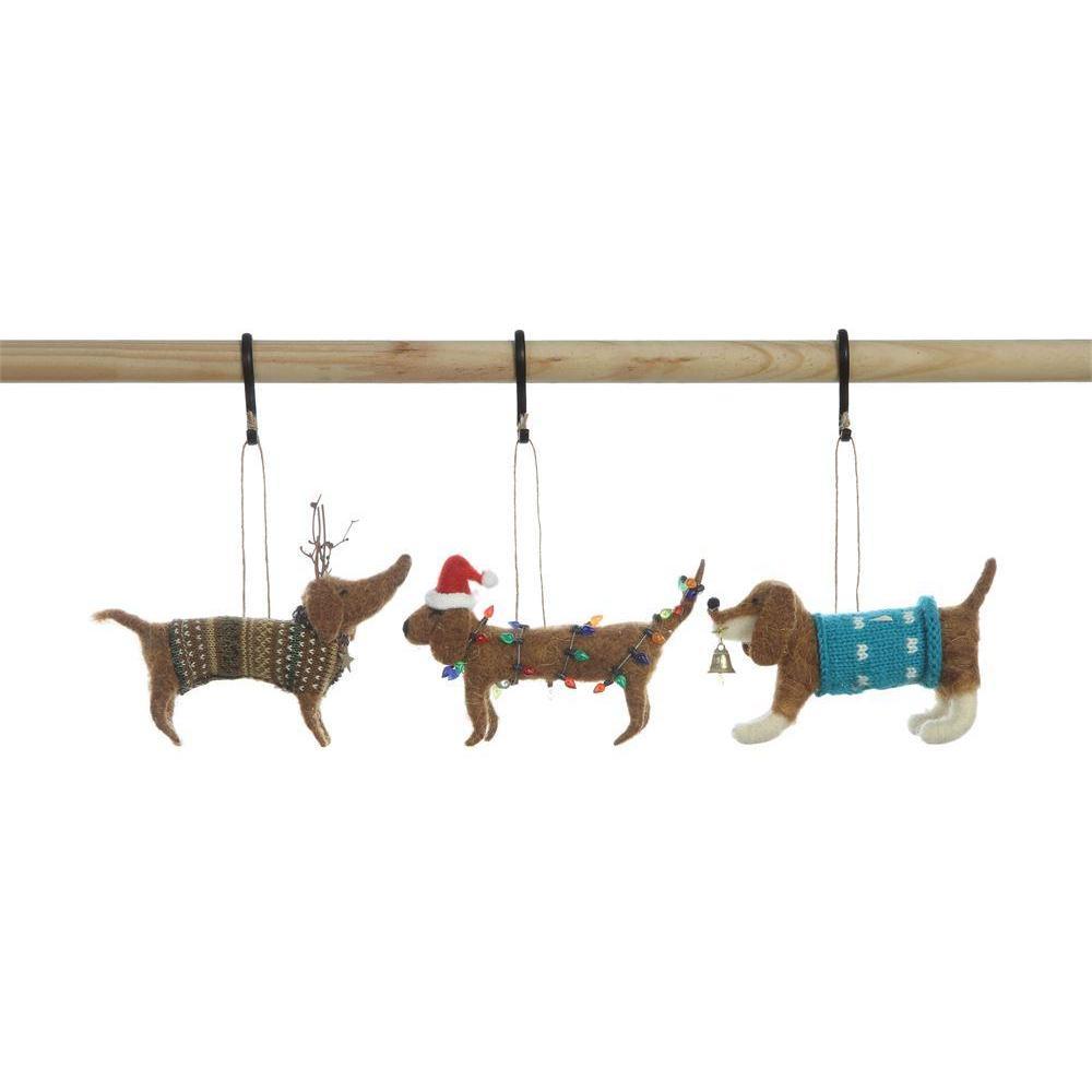 Seasonal Ornament Wool Felt Dog