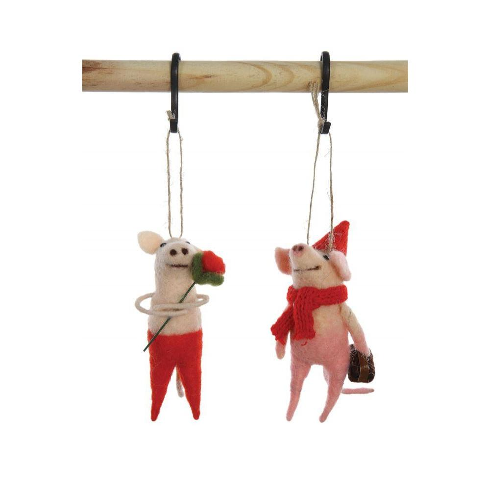 Seasonal  Ornament Wool Felt Pig
