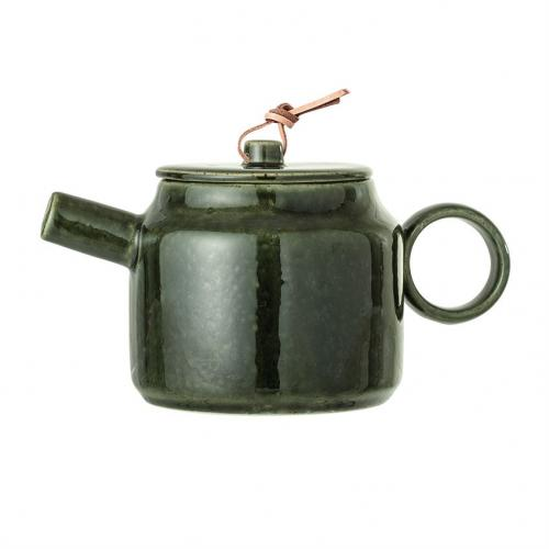 Teapot - Green With Leather Tie 24oz