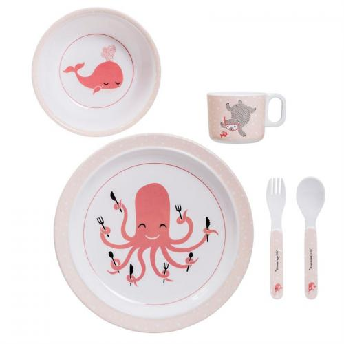 Kids Dinnerware Melamine Serving Set White And Pink