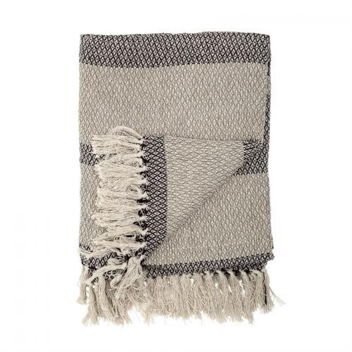 Cotton Knit Throw Blanket Grey Stripe
