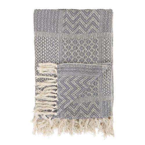 Throw Blanket Cotton Blend Textured Patterns Grey