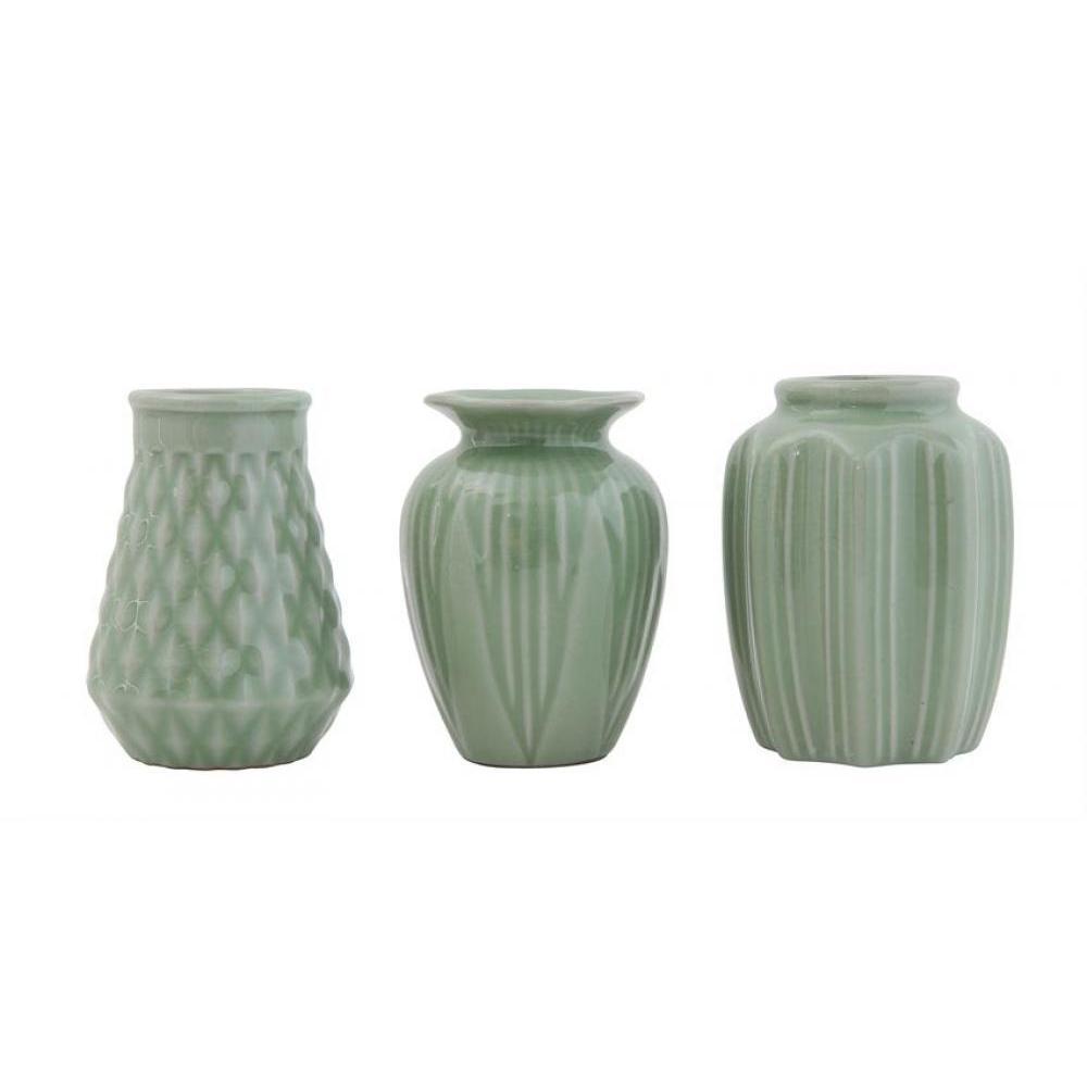 Vase Crackle Glaze Jade Set of 3 Assorted Shapes Sold Each $6.99