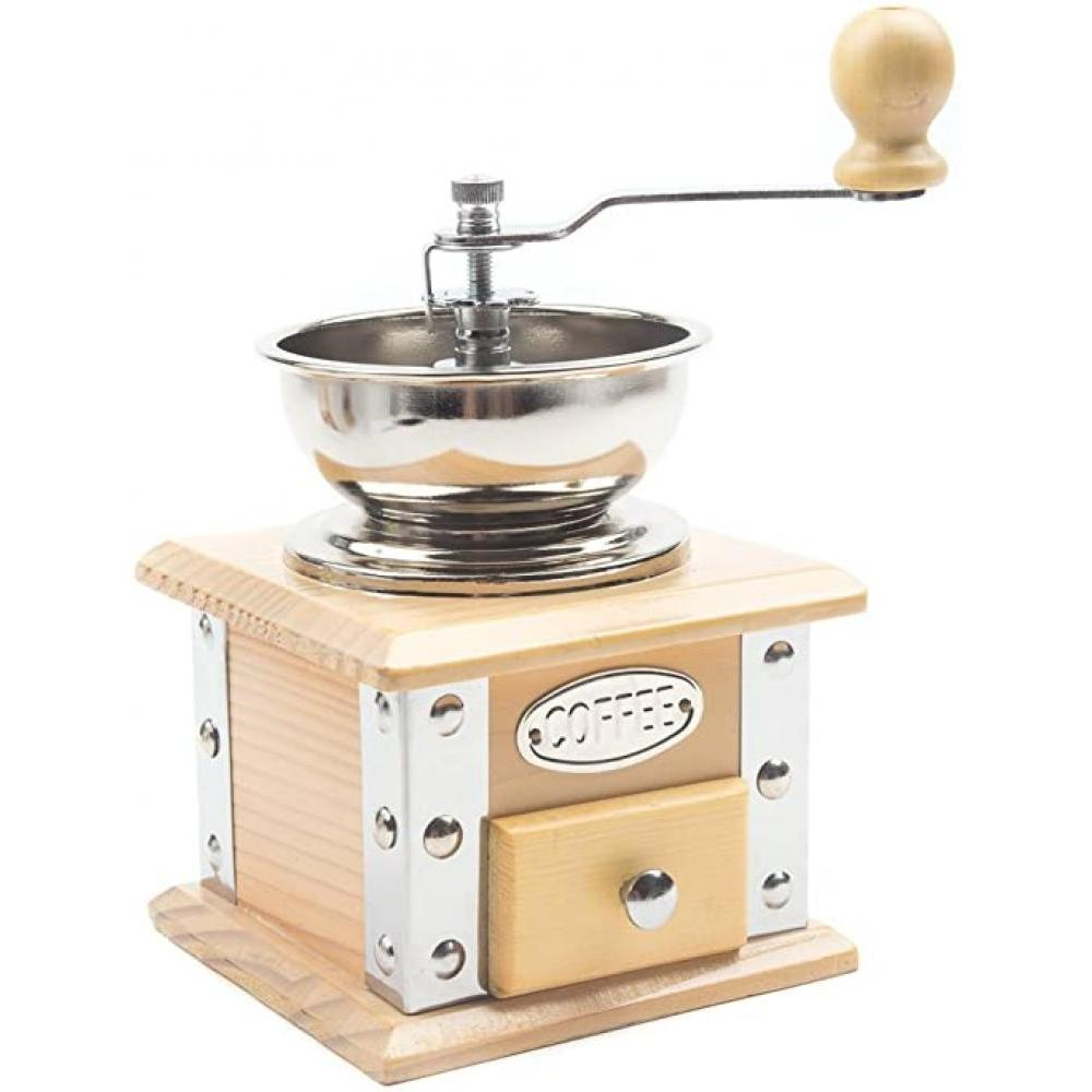 Coffee Bean Grinder Manual With Wooden Base & Catch