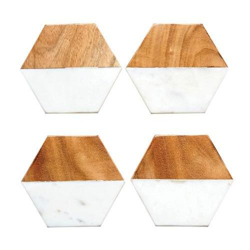 Coaster - Marble And Mango Wood Hexagon Set Of 4