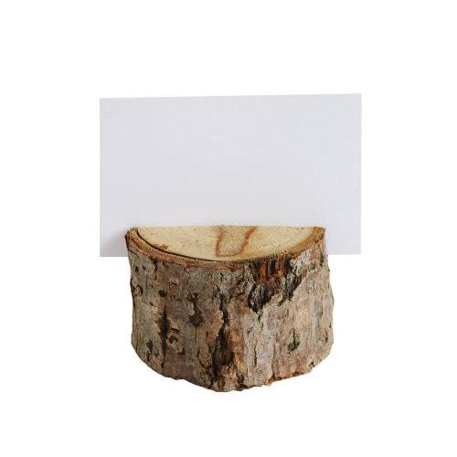 Round Wood Slice Place Holder With 12 Cards - Boxed Set Of 6