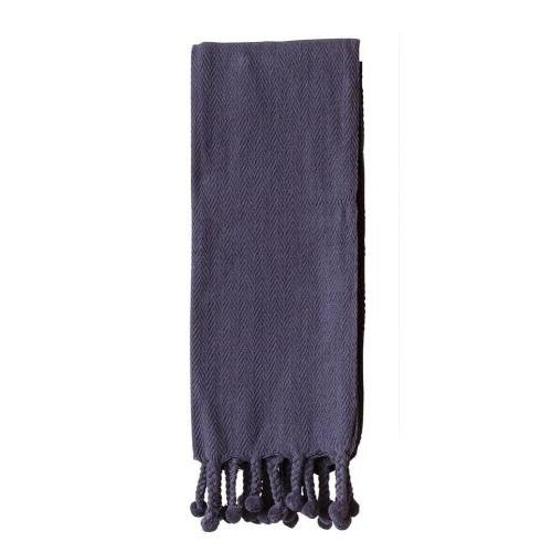 Throw Blanket Pompoms, Navy