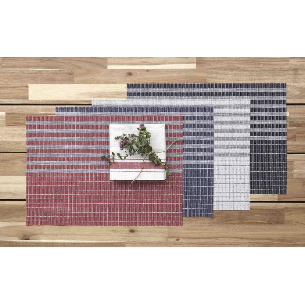 Place Mat - Linen Stripe Vinyl - Red