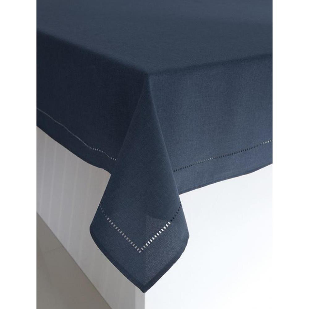 Table Cloth - Linen Look Round 70in - Navy