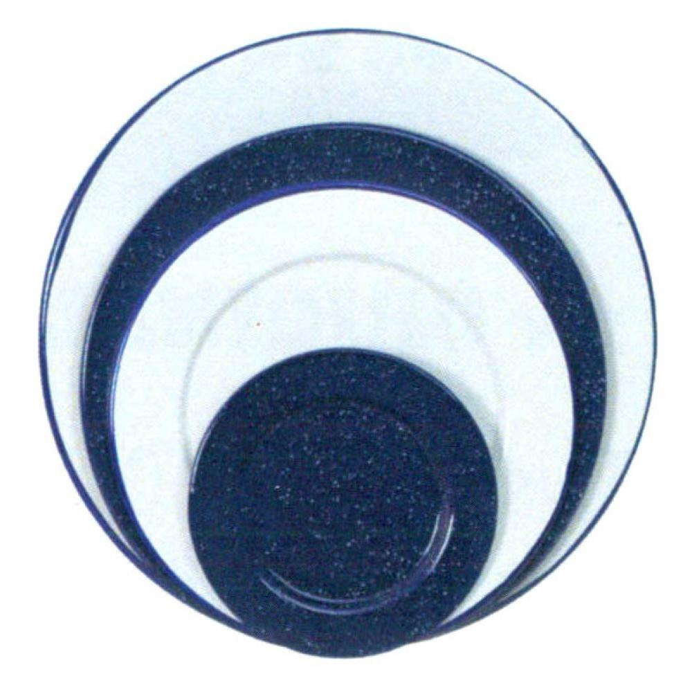 Enamelware Plate 6.25in White With Blue Rim