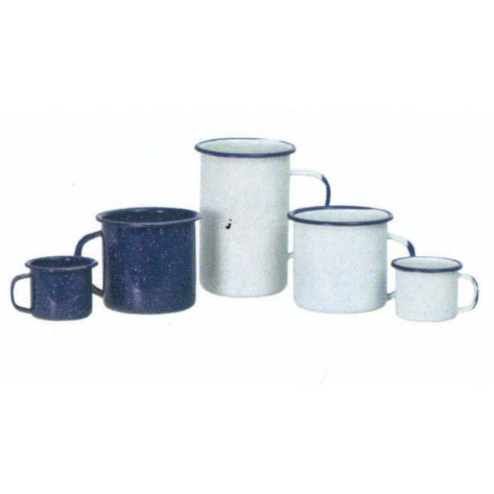 Enamelware Mug 12oz White With Blue Rim
