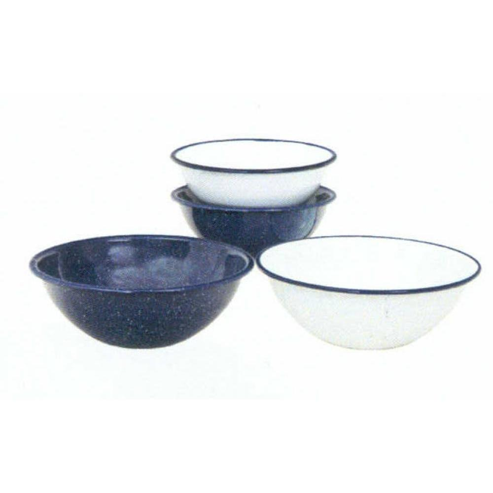 Enamelware Bowl 7.5in 40oz White With Blue Rim