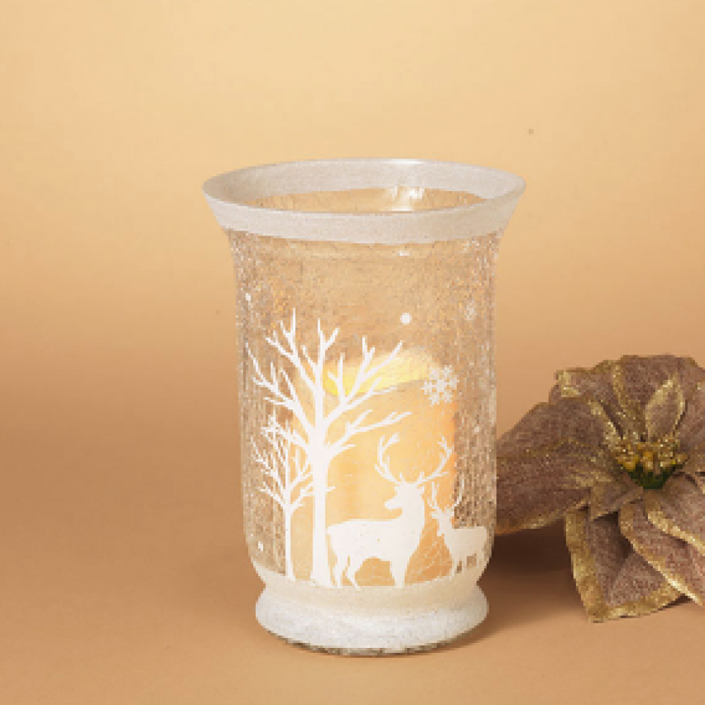Candle Holder - Crackle White With Holiday Scene 8in