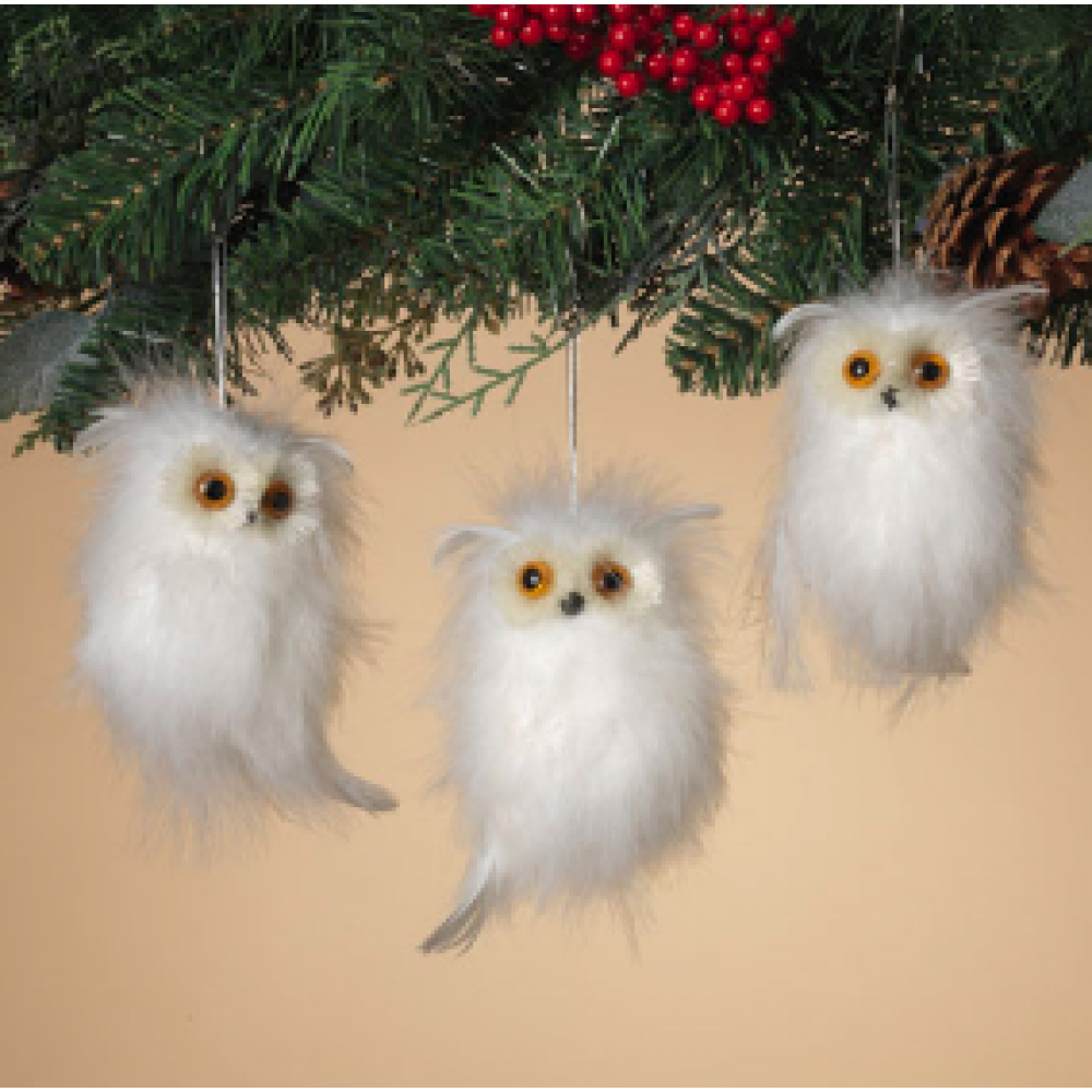Ornament - Natural Feather Owl - White