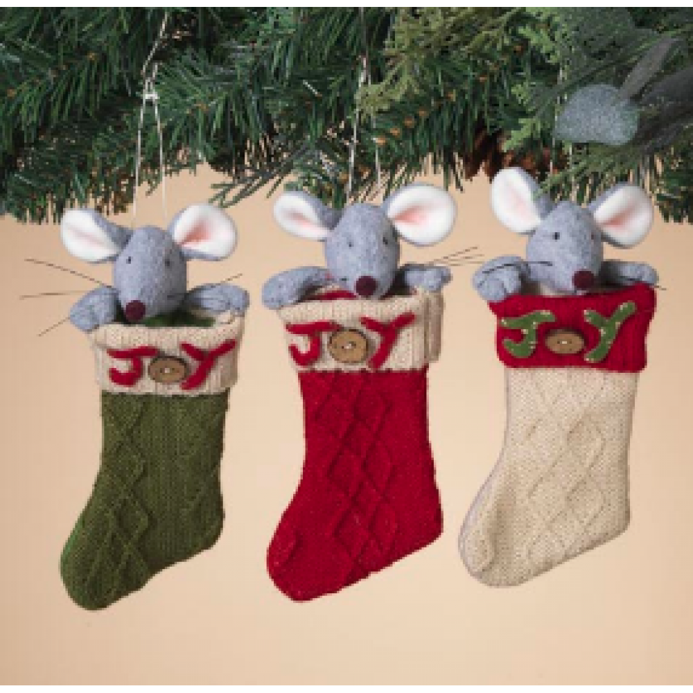 Ornament - Holiday Mouse In Stocking