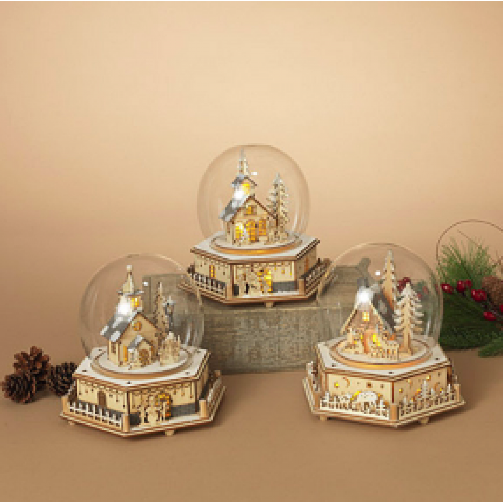 Lighted Wind Up Musical Glass Dome W/ Moving Village Scene