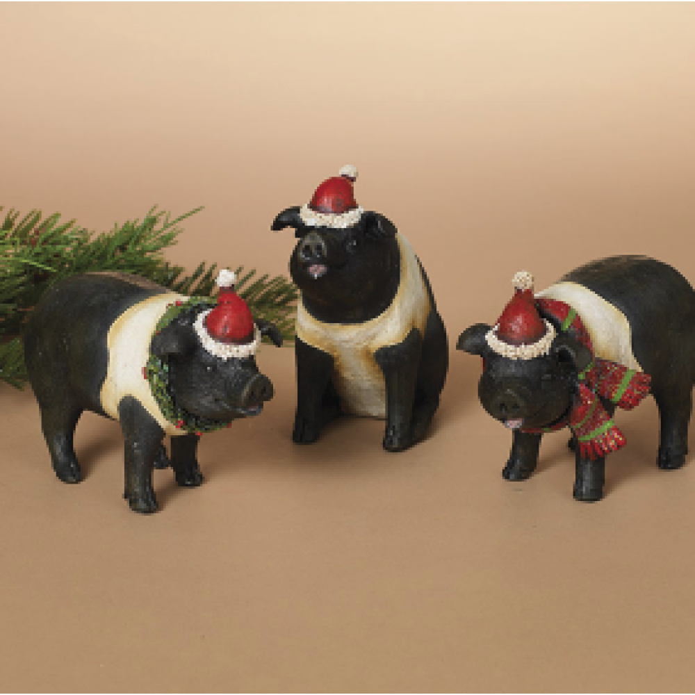 Holiday Pig Figurine 6.3in