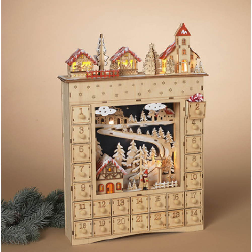 Lighted Wood House Countdown Calendar With Village Scene