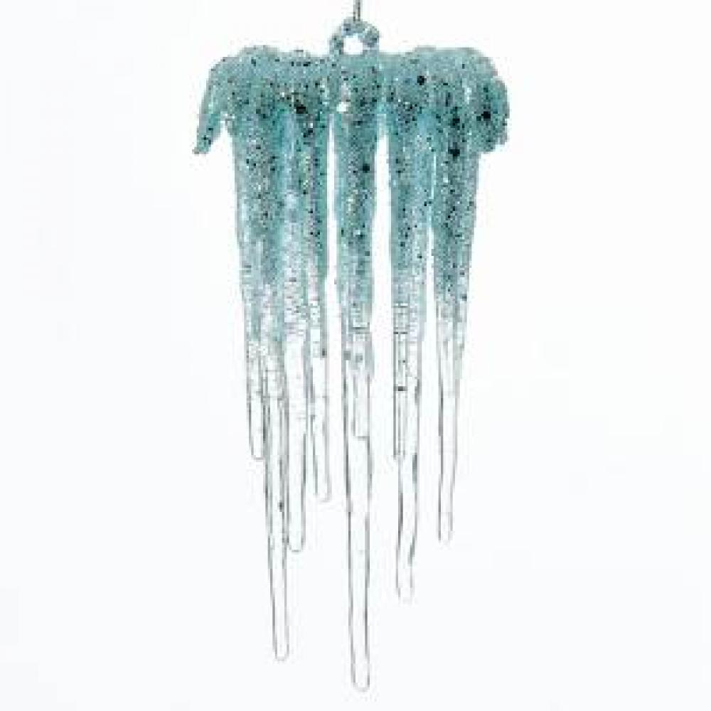 Ornament - Plastic Blue Icicle Glitter