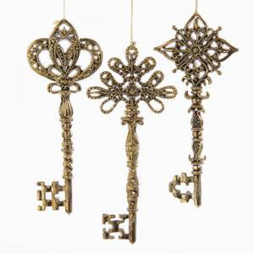 Ornament - Gold Key Acrylic 3asst