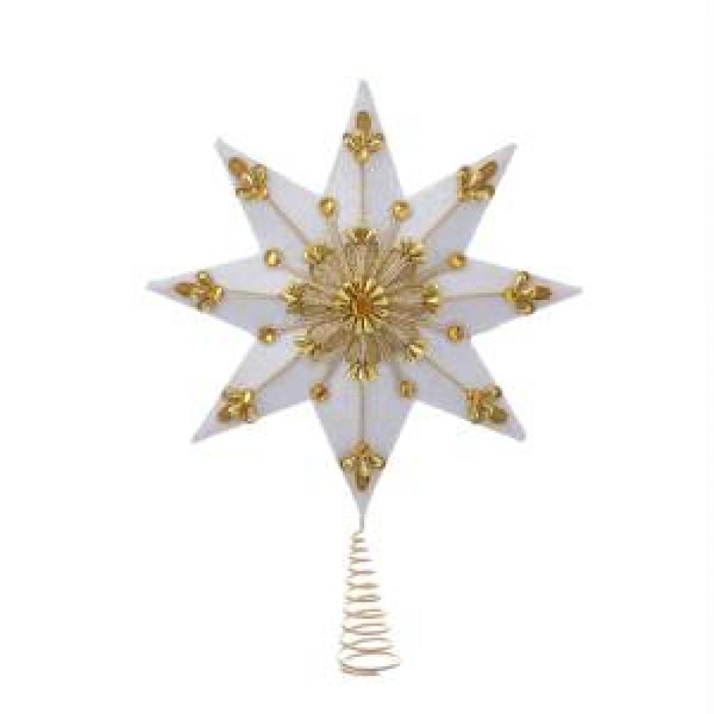 Tree Topper - 8 Point White And Gold Star