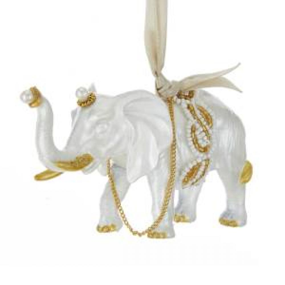 Ornament - Elephant White And Gold 5in