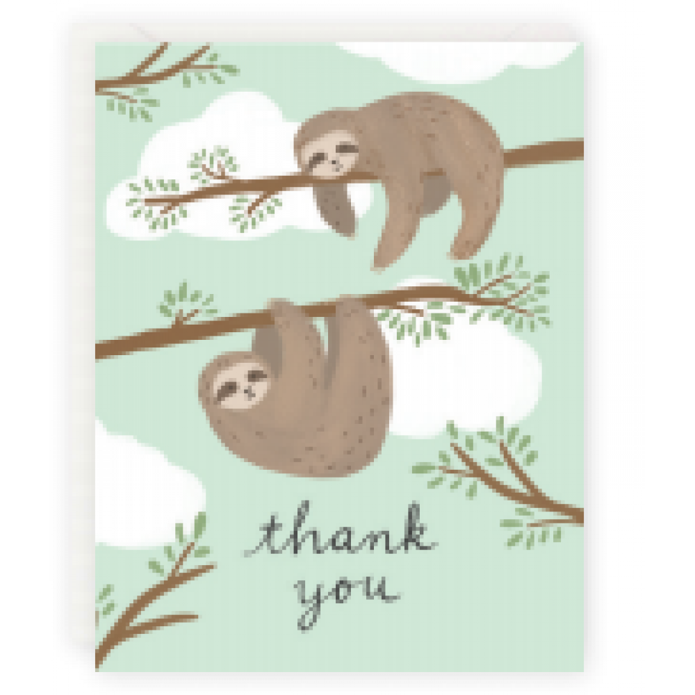 Boxed Card - Thank You - Sloths