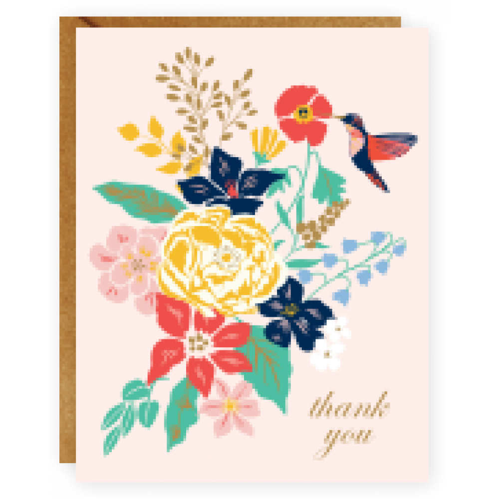 Boxed Card - Thank You - Hummingbird Floral
