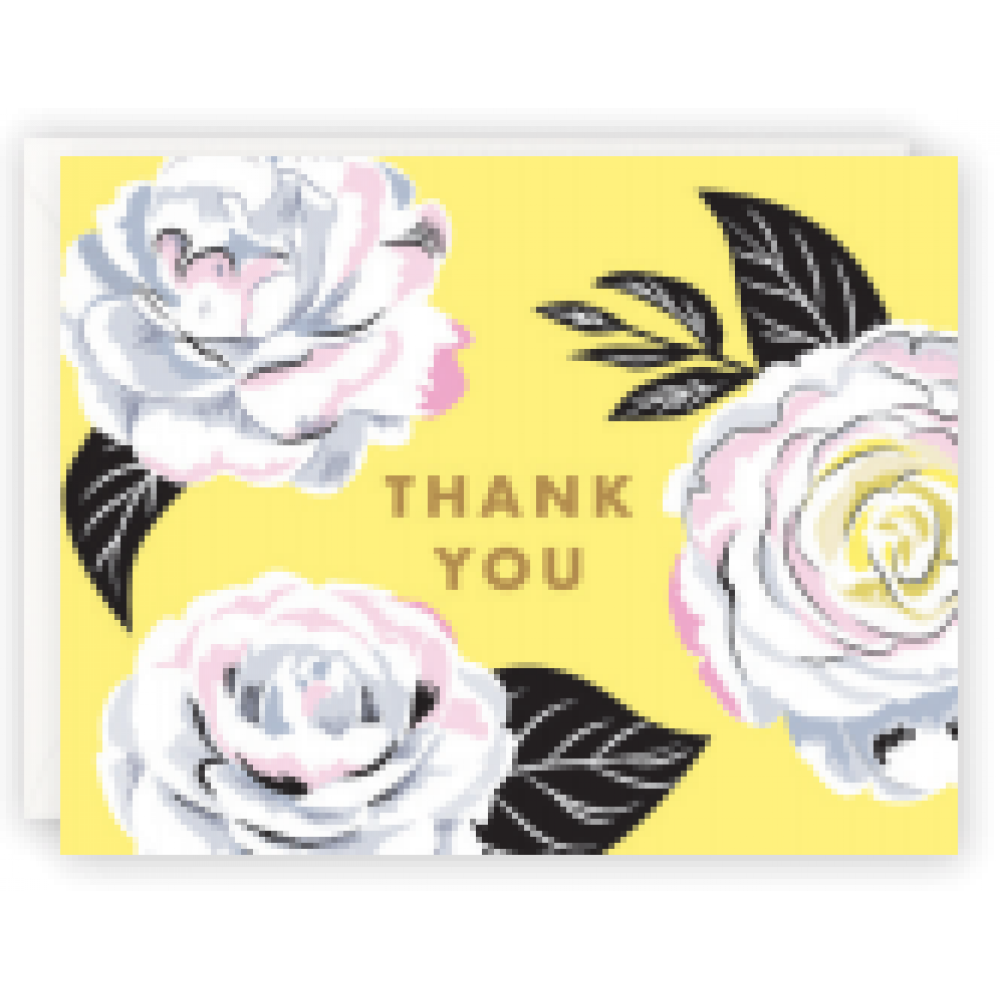 Boxed Card - Thank You - Camellia