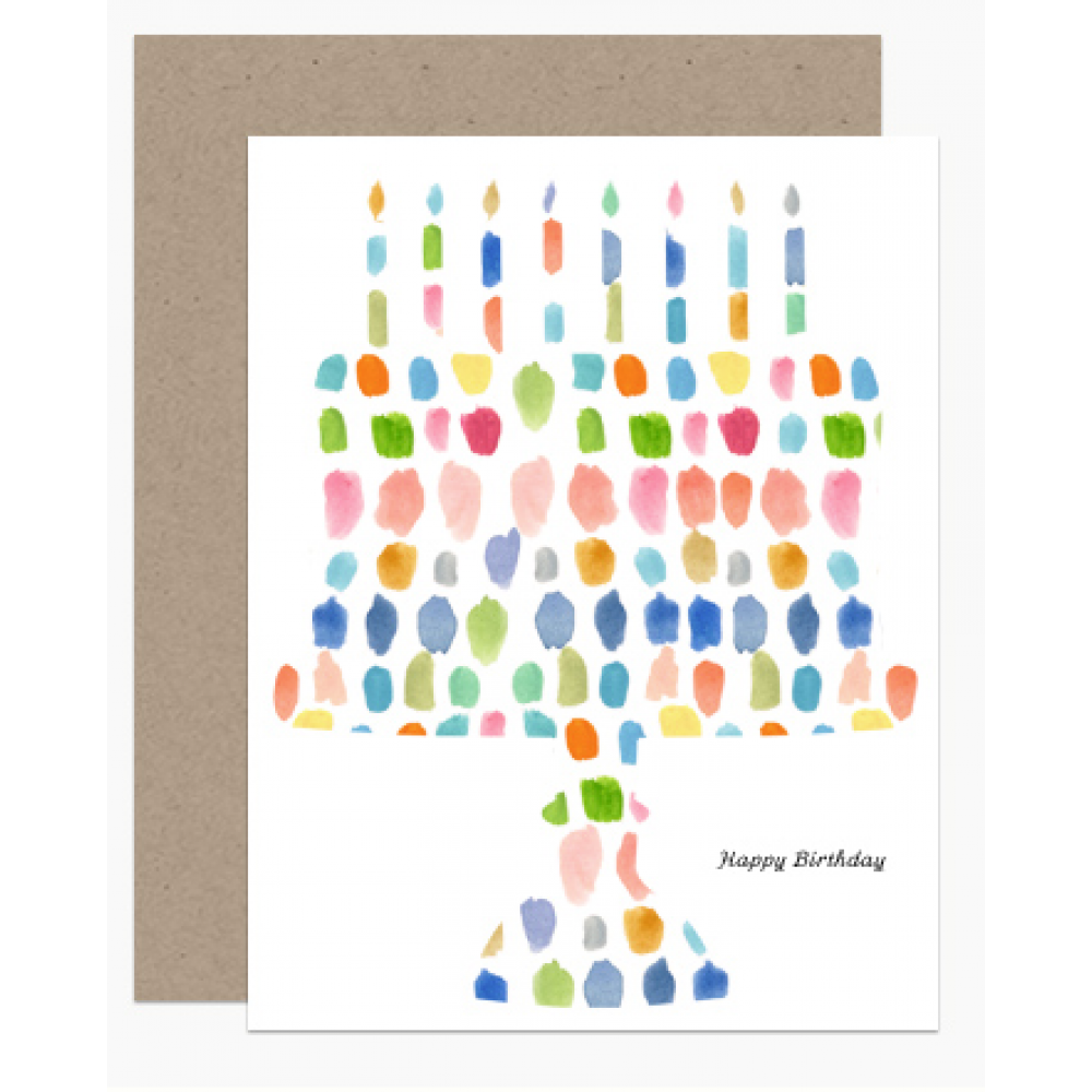 Birthday - Watercolor Candles On A Cake