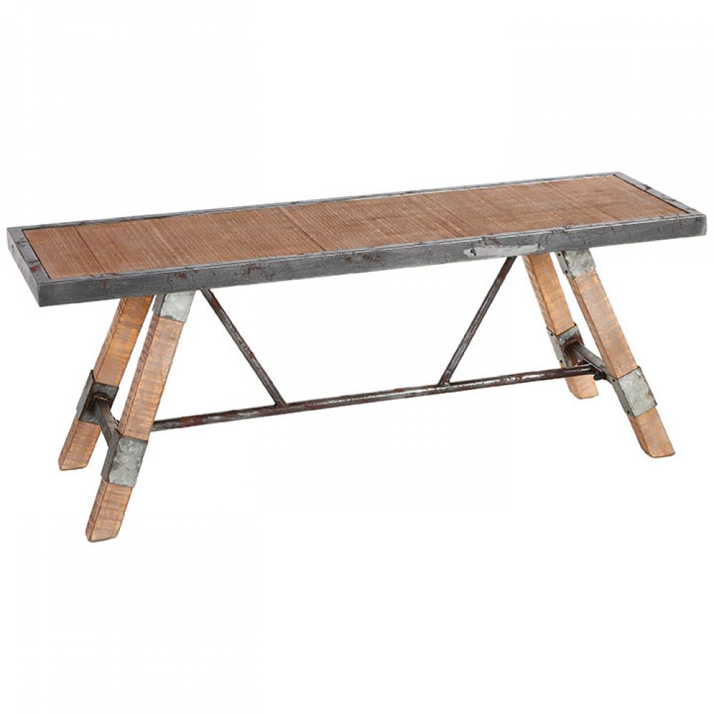 Galvanized Metal And Birch Wood Bench 14in D x 46in L x 18in H