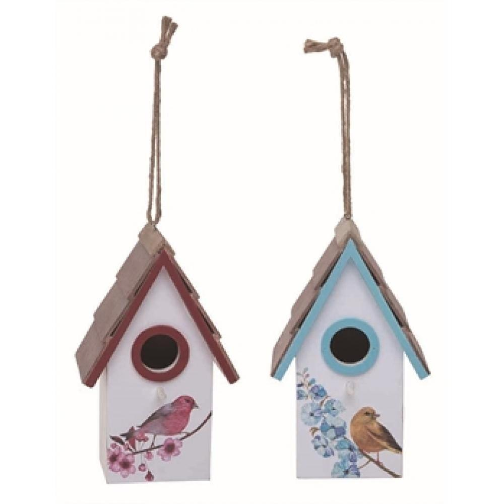 Lg Wood Spring Bird Colorful Birdhouse