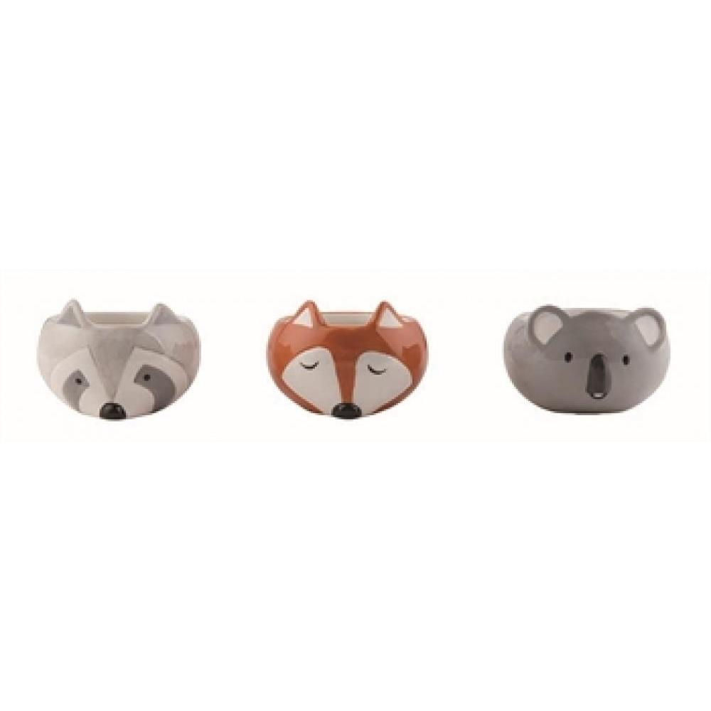 Sm Dol Animal Head Planter 3 Assorted
