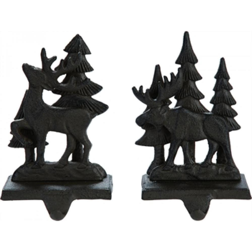 Christmas Decor Stocking Holder - Iron Deer/tree