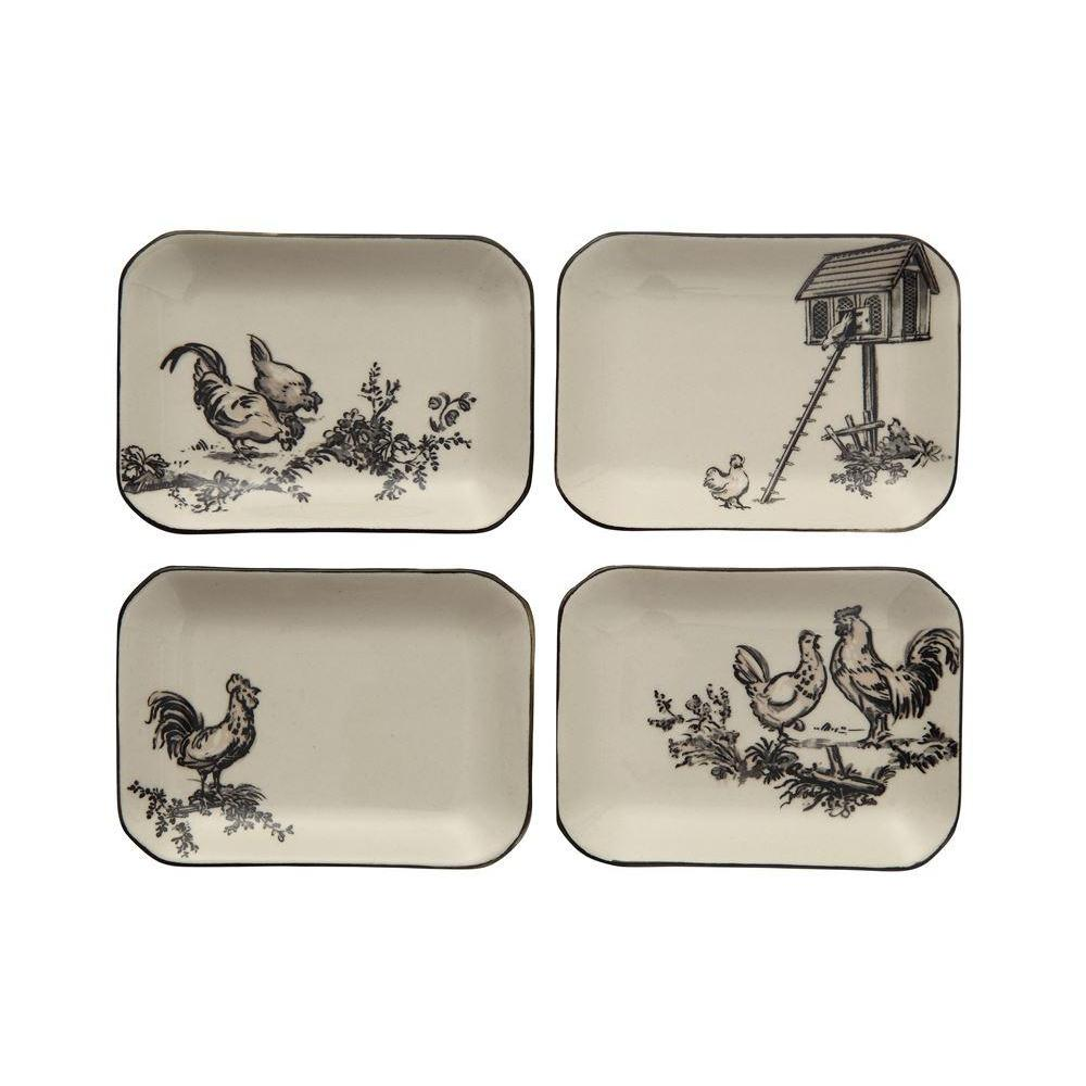Stoneware Dish With Chicken And Black Rim - 4 Styles
